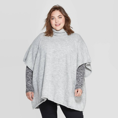 Women's Rolled Edge Poncho - Universal Thread™ Gray  One Size - image 1 of 2