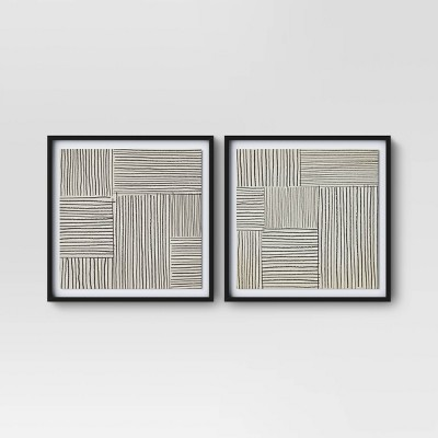 "(Set of 2)20"" x 20"" Abstract Lines Framed Print - Project 62™"