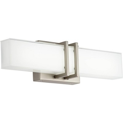 "Possini Euro Design Modern Wall Light LED Brushed Nickel 17"" Vanity Fixture for Bathroom Over Mirror Bedroom"