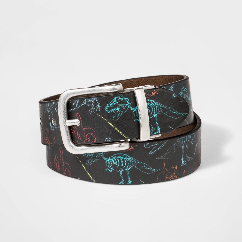 Image of Boys' Dino Print Belt - Cat & Jack Black L, Boy's, Size: Large, MultiColored