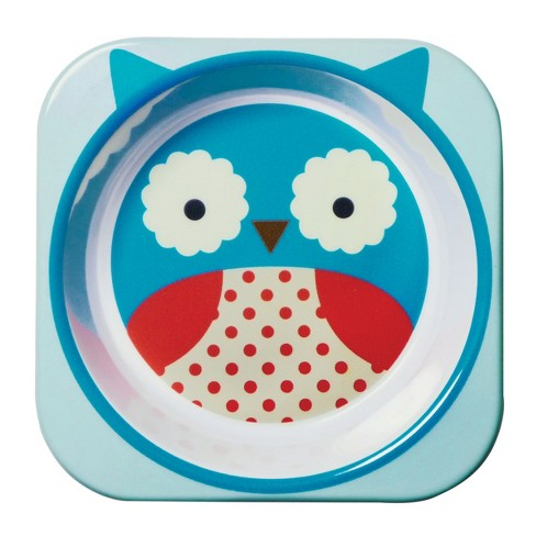 Skip Hop Rounded Square Melamine Bowl 10oz Owl - Blue/Red - image 1 of 1