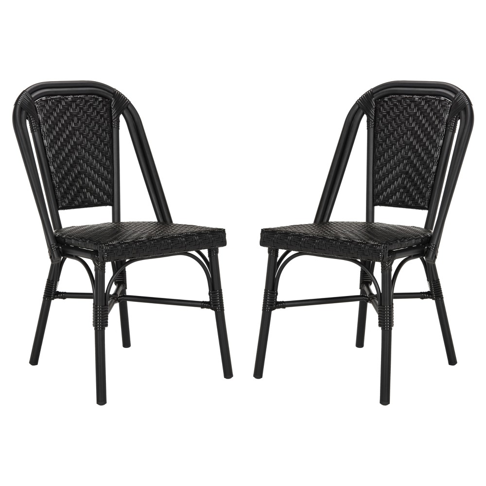 Daria 2pk All-Weather Wicker Patio Stackable Side Chair - Black - Safavieh