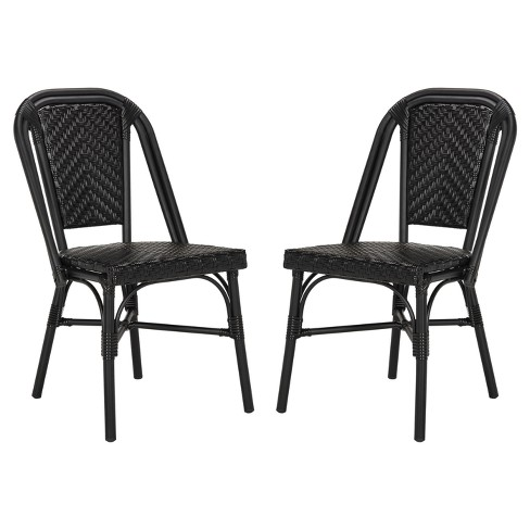 Daria 2pk All-Weather Wicker Patio Stackable Side Chair - Black - Safavieh - image 1 of 4