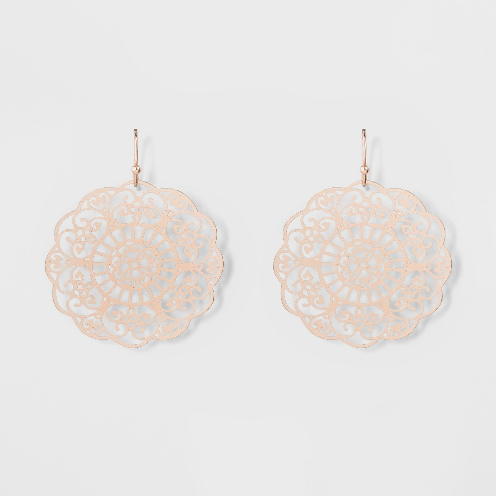 Women's Dangle Earring with Filigree Disc - Rose Gold