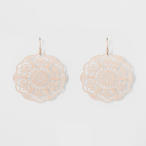 Women's Dangle Earring with Filigree Disc - Rose Gold - image 1 of 2