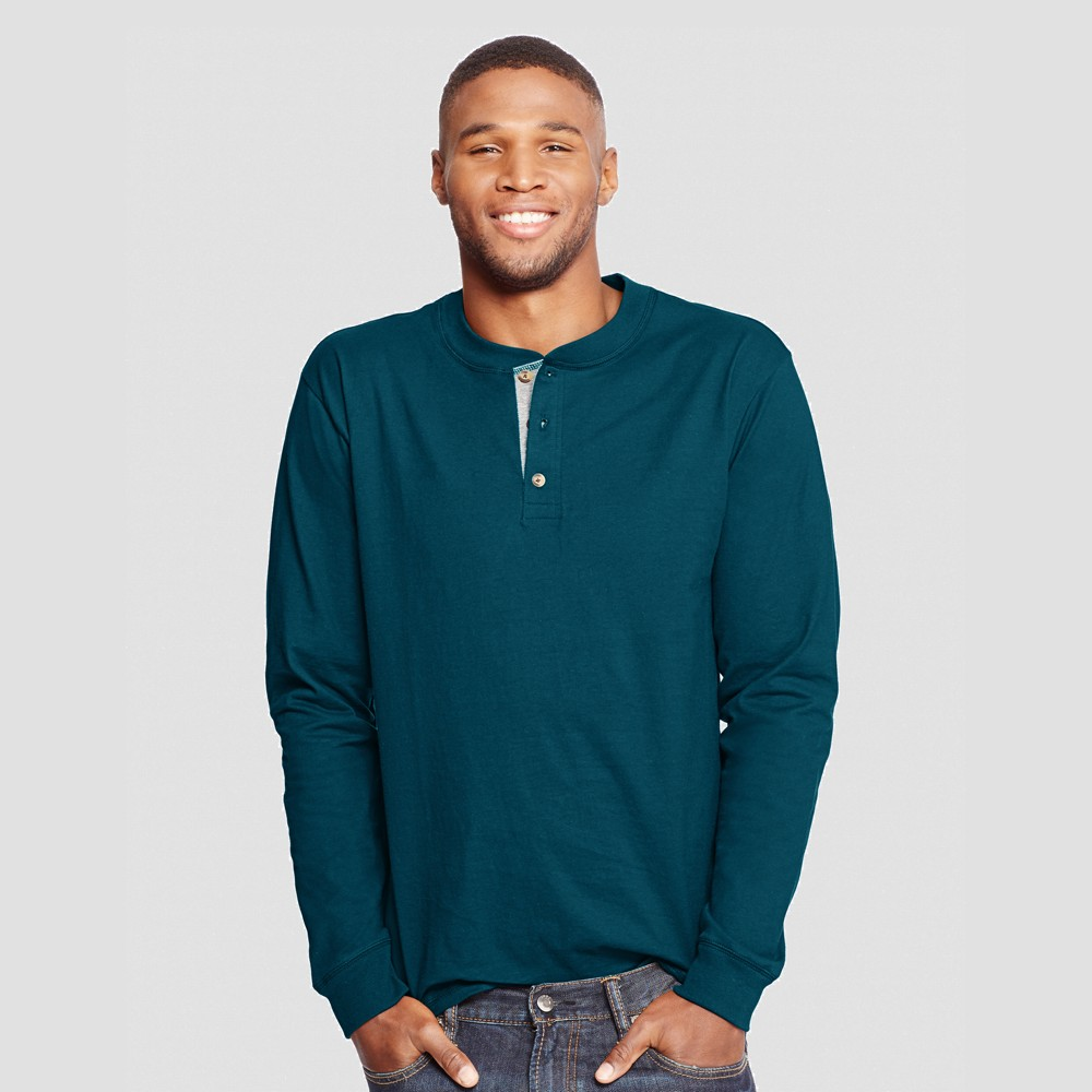 Hanes Men's Long Sleeve Beefy Henley Shirt - Dark Teal XL