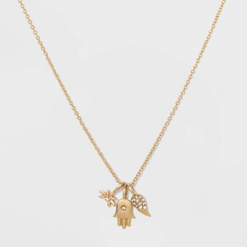 Hamsa and Wing and Leaf Charm Short Necklace - Gold - image 1 of 3