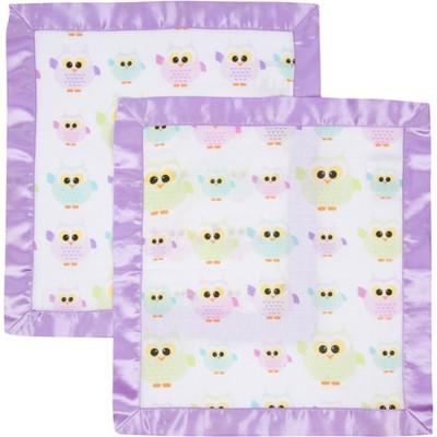 MiracleWare Owls Muslin Security Blanket - 2pk