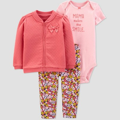 Baby Girls' Floral Mama Cardigan Top & Bottom Set - Just One You® made by carter's Pink 3M