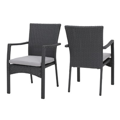 Corsica Set of 2 Wicker Dining Chair with Cushions - Gray - Christopher Knight Home