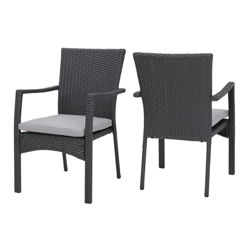 Swell Corsica Set Of 2 Wicker Dining Chair With Cushions Christopher Knight Home Alphanode Cool Chair Designs And Ideas Alphanodeonline