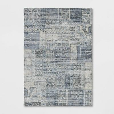 Geometric Distressed Patchwork Rug Blue - Threshold™
