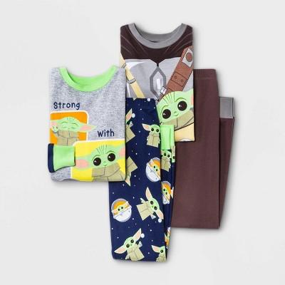 Boys' Star Wars Baby Yoda 4pc Pajama Set - Gray/Blue/Brown