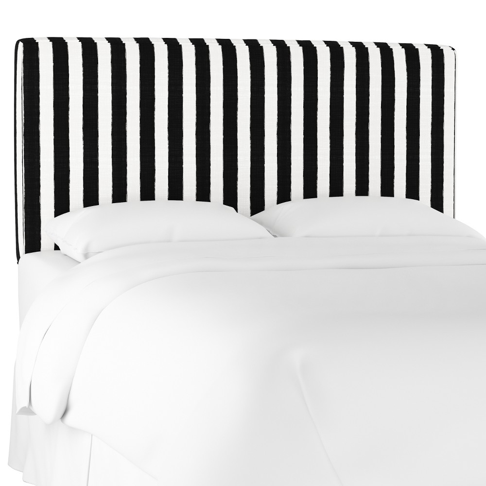 King Harper Box Seam Headboard Black/White Stripe - Cloth & Co.