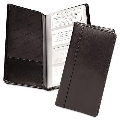Samsill Regal Leather Business Card File 96 Card Cap 2 x 3 1/2 Cards Black 81240