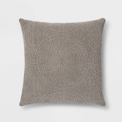 Euro Matelasse Medallion Throw Pillow Dark Gray - Threshold™