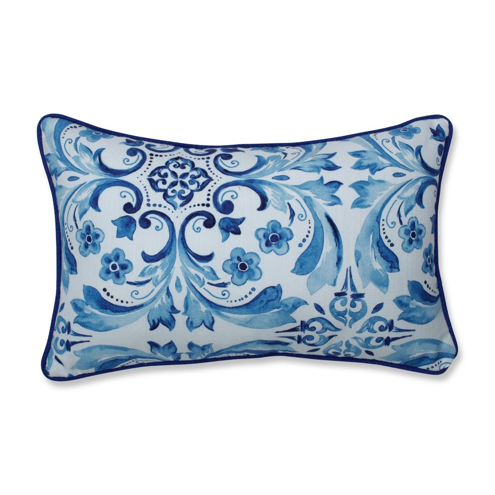 Fresco Delft Lumbar Throw Pillow Blue Pillow Perfect