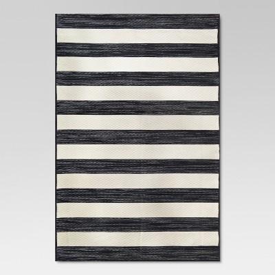 5'x7' Outdoor Rug Worn Stripe Black - Threshold™