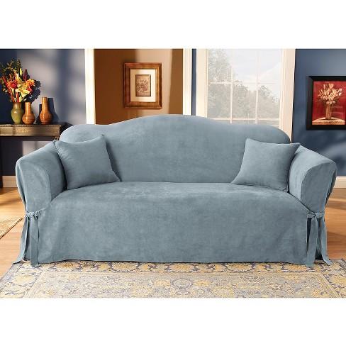 Soft Suede Sofa Slipcover Smoke Blue - Sure Fit