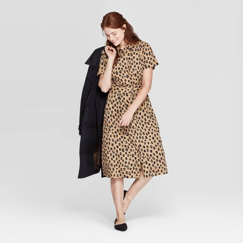 Women's Leopard Print Short Sleeve Collared Midi Shirtdress - A New Day™ Tan - image 1 of 3