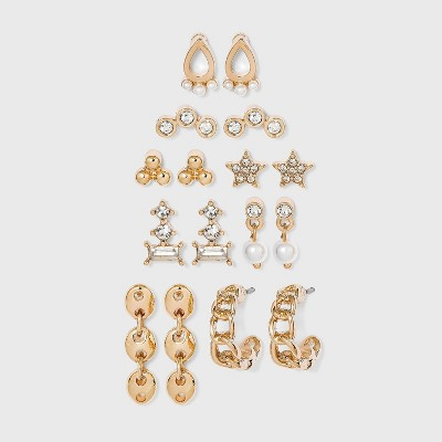 Multi Pearl and Cubic Zirconia Stud and Hoop Earring Set 8pc - A New Day™ Gold