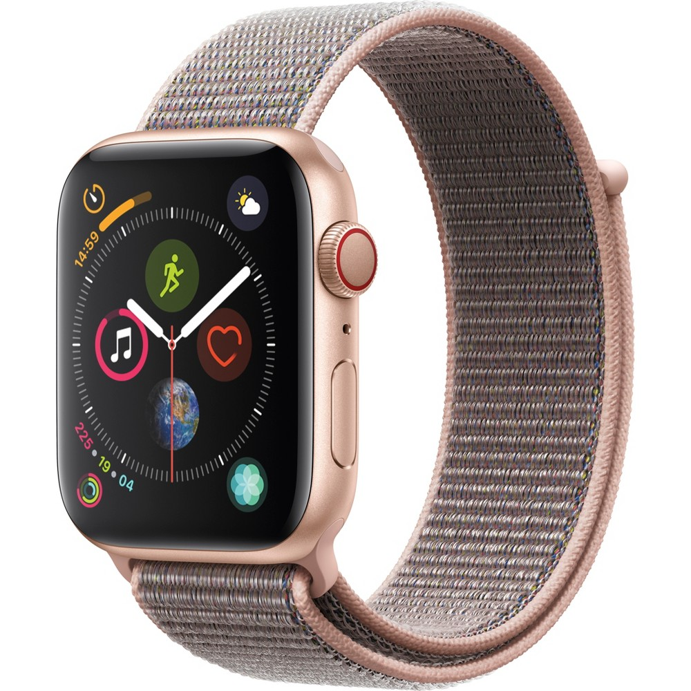 Apple Watch Series 4 Gps & Cellular 44mm Gold Aluminum Case with Sport Loop - Pink Sand, Pink Sand Sport Loop Fundamentally redesigned and reengineered. The largest Apple Watch display yet. Built-in electrical heart sensor. New Digital Crown with haptic feedback. Low and high heart rate notifications. Fall detection and Emergency Sos. New Breathe watch faces. Automatic workout detection. New yoga and hiking workouts. Advanced features for runners like cadence and pace alerts. New head-to-head competitions. Activity sharing with friends. Personalized coaching. Monthly challenges and achievement awards. Built-in cellular lets you use Walkie-Talkie, make phone calls, and send messages. Stream Apple Music and Apple Podcasts. And use Siri in all-new ways—even while you're away from your phone. With Apple Watch Series 4, you can do it all with just your watch. Selection may vary; see a sales associate for available models. Apple Watch Series 4 (Gps + Cellular) requires an iPhone 6 or later with iOS 12 or later. Wireless service plan required for cellular service. Apple Watch and iPhone service provider must be the same. Not all service providers support enterprise accounts; check with your employer and service provider. Roaming is not available outside your carrier network coverage area. Contact your service provider for more details. Apple Music requires a subscription. Compared with the previous generation. Iso standard 22810:2010. Appropriate for shallow-water activities like swimming. Submersion below shallow depth and high-velocity water activities not recommended. Color: Pink Sand Sport Loop.
