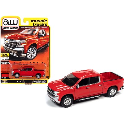 "2019 Chevrolet Silverado LTZ Z71 Pickup Truck Red Hot ""Muscle Trucks"" Ltd Ed 10720 pcs 1/64 Diecast Model Car by Autoworld"