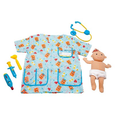 Melissa & Doug Pediatric Nurse Role Play Costume Set (8pc) - Includes Baby Doll, Stethoscope