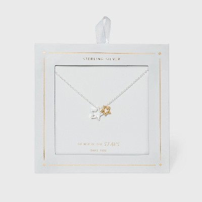 Sterling Silver Two-Tone Open Stars Necklace - Gold/Silver