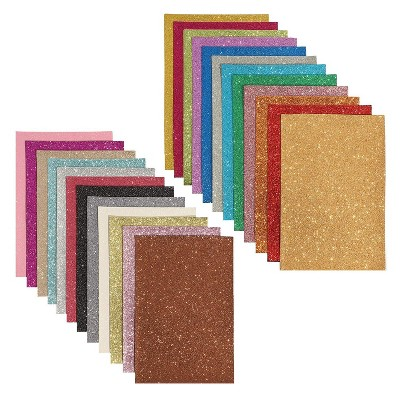 Bright Creations Glitter Fabric Sheets, Faux Leather (24 Count) 6 x 9 Inch, 24 Colors