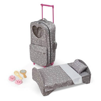 """Travel and Tour Trolley Carrier with Bed for 18-in"""" Dolls - Gray/Stars"""