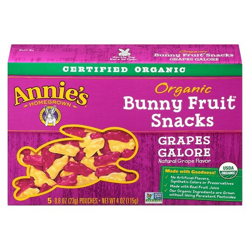 Annie's Homegrown Organic Grapes Galore Bunny Fruit Snacks - 5/0.8oz - image 1 of 5