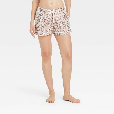 Women's Leopard Print Simply Cool Pajama Shorts - Stars Above™ Cream