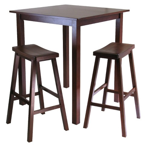 3 Piece Parkland High Table Set With 2 Stools Wood Antique Walnut Winsome