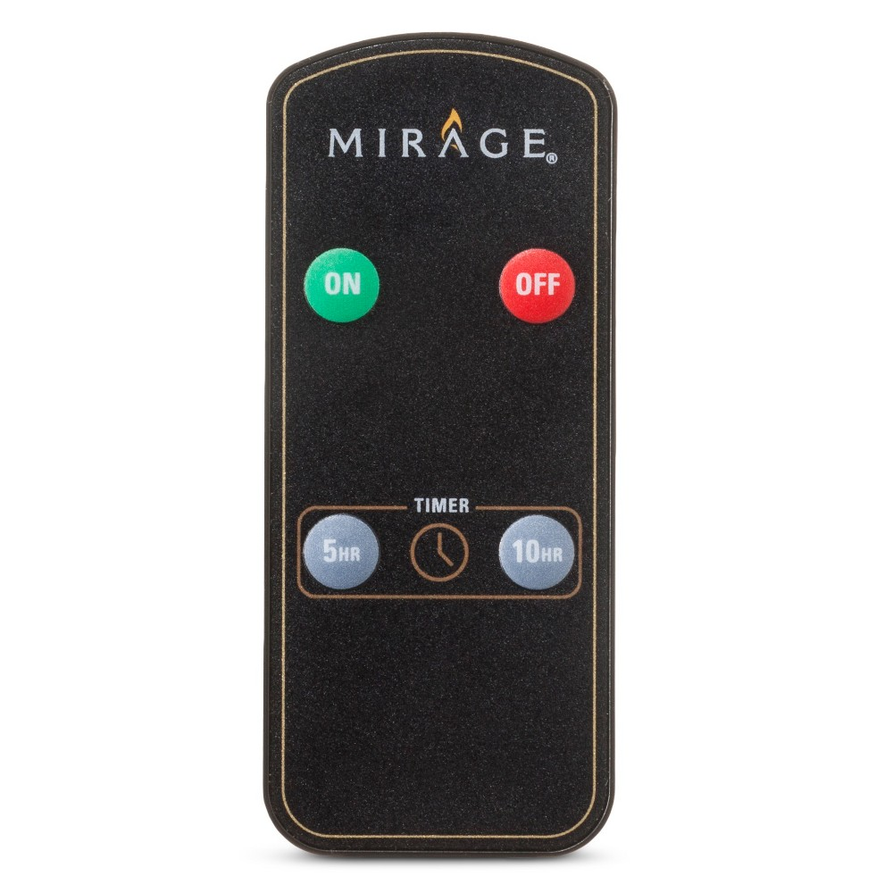 Led Candle Remote - Mirage, Black Operate your favorite Mirage pillar candle with the simple press of a button with this Mirage Led Candle Remote. The remote has on and off buttons as well as five-hour and 10-hour timer settings. It requires a lithium-ion battery, which is included. Color: Black.