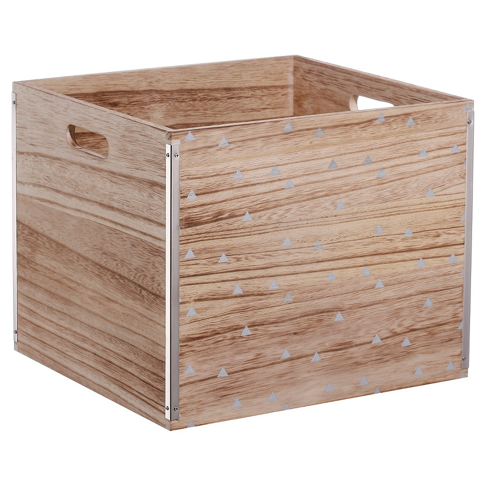 Wood Large Milk Crate Silver Triangle - Room Essentials, Multi-Colored