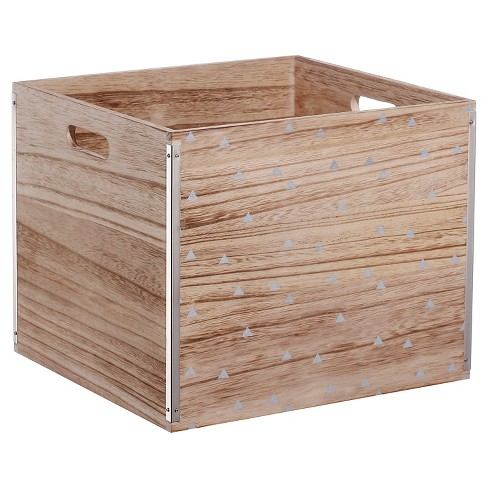 Wood Large Milk Crate Silver Triangle - Room Essentials™ - image 1 of 2