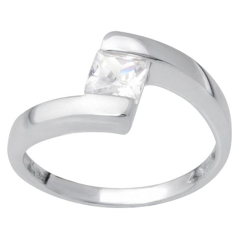Tressa Collection Square Cut Cubic Zirconia Engagement Ring in Sterling Silver - image 1 of 3