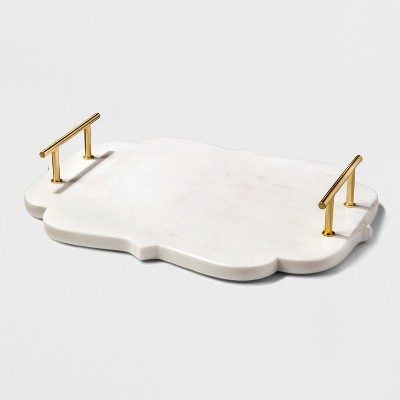 Serving Tray Marble with Gold Handles - Threshold™