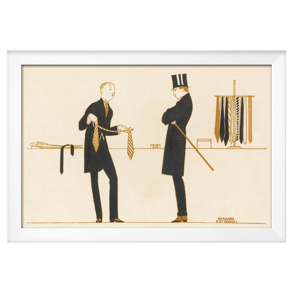 Art.com Framed Wall Poster Print Gentleman Chooses a Tie to Purchase - Brown