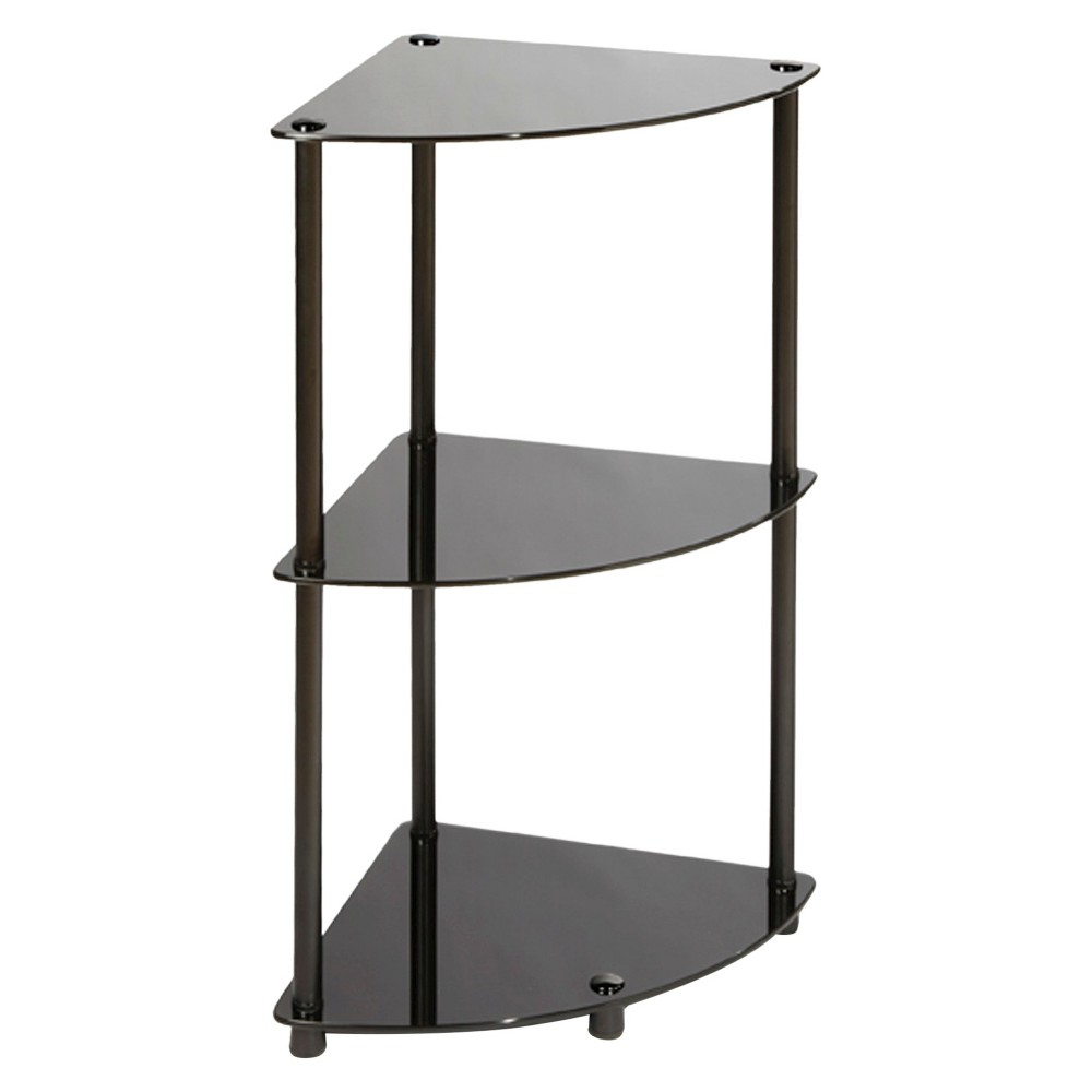 Image of 31.5 3 Tier Corner Shelf - Black Glass - Convenience Concepts