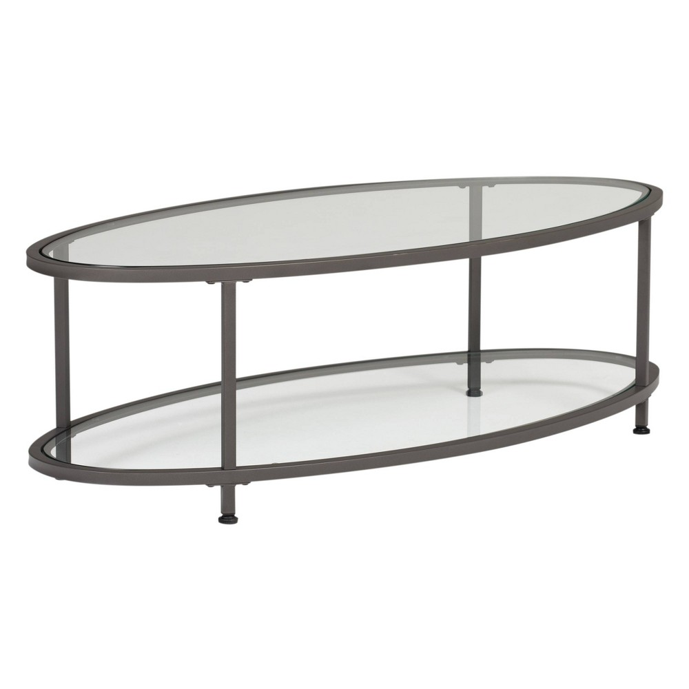 "Image of ""48"""" Camber Modern Glass Oval Coffee Table Pewter - Studio Designs Home"""