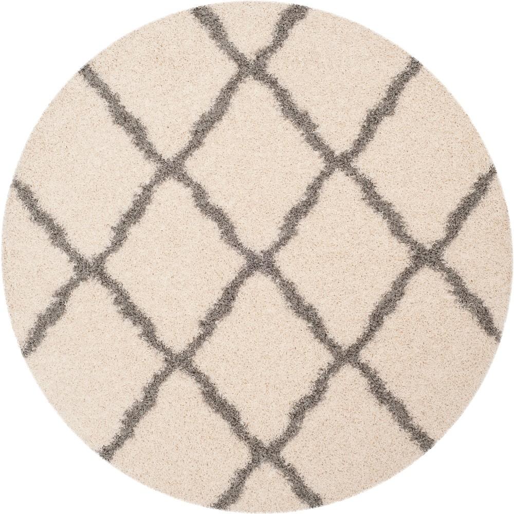 6' Quatrefoil Design Loomed Round Area Rug Ivory/Gray - Safavieh