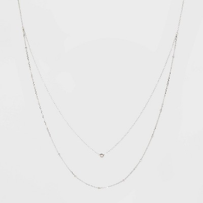 Sterling Silver Beaded Double Layered Necklace - A New Day™ Silver