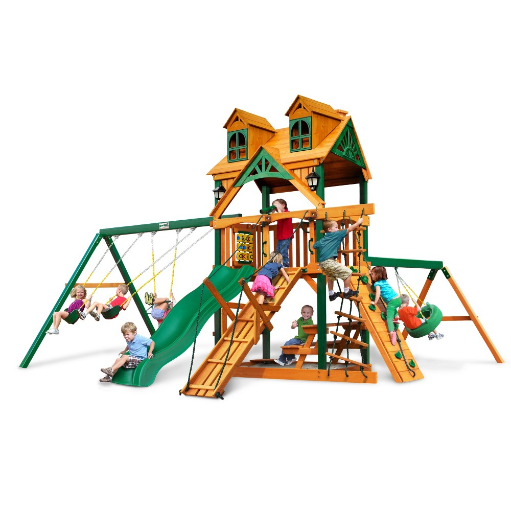 Gorilla Playsets Malibu Frontier Swing Set with Timber Shield, Multi-Colored