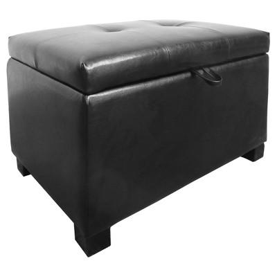 Antonio Storage Ottoman - Black Bonded Leather - Corliving