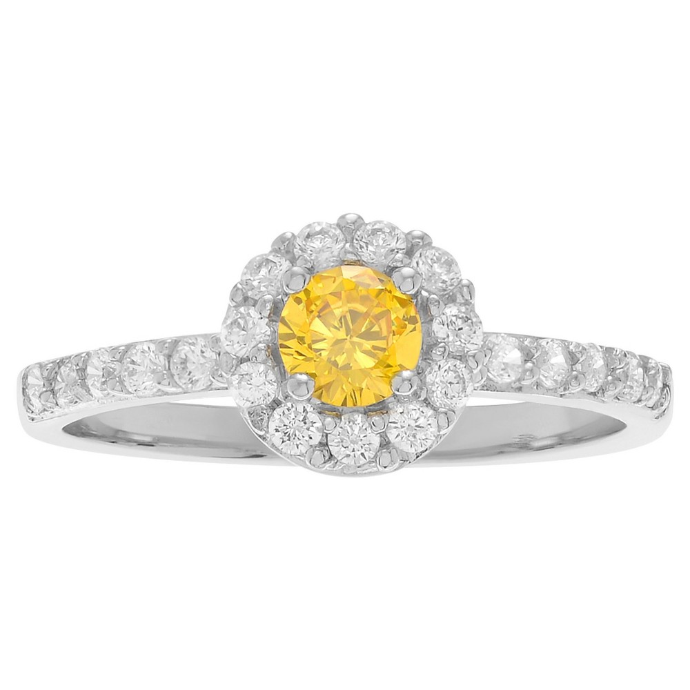 1/3 CT. T.W. Round-cut Citrine Cubic Zirconia Engagement Prong Set Ring in Sterling Silver - Yellow, 8, Girl's