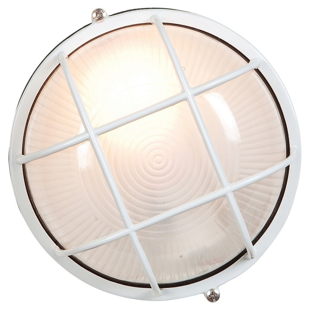 Nauticus Fluorescent Outdoor Bulkhead with Frosted Glass Shade - White (7)