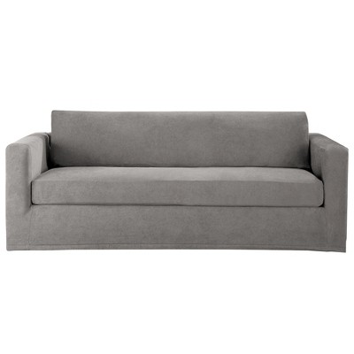 Gray Stretch Sterling 3pc Sofa Slipcover   Sure Fit