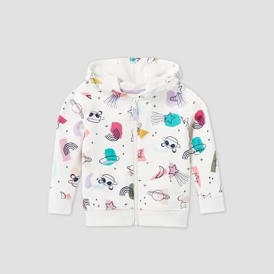 Toddler Girls' Printed Fleece Zip-Up Sweatshirt - Cat & Jack™ Cream 2T